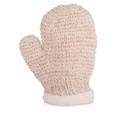 Натуральная массажная рукавичка из конского волоса и сизаля, белая